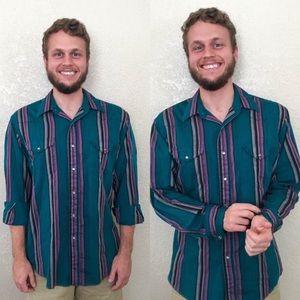 Vintage 1980s 1990s Wrangler Striped Dress Shirt
